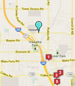 Map of Hiawatha, IN hotels