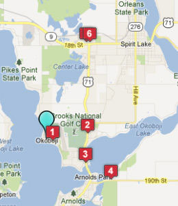 Map of Okoboji, IN hotels
