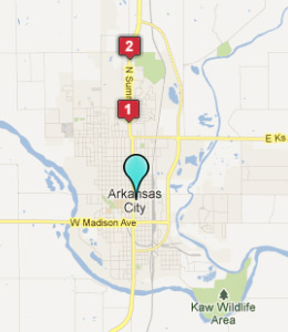 Map of Arkansas City, IN hotels