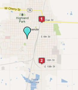 Map of Chanute, IN hotels