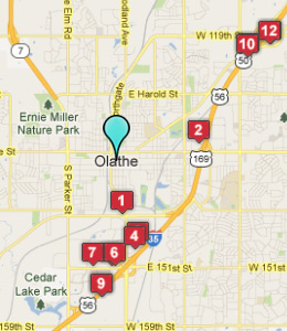 Map of Olathe, IN hotels