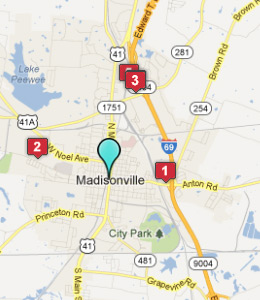 Map of Madisonville, IN hotels