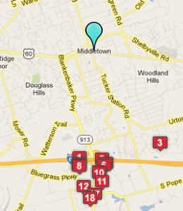 Map of Middletown, IN hotels