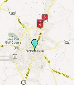 Map of Nicholasville, IN hotels