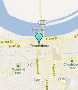 Map of Owensboro, IN hotels