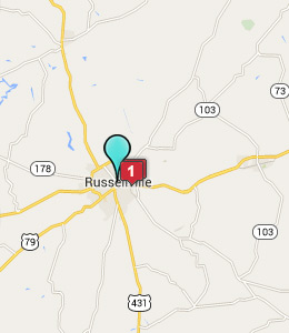 Map of Russellville, IN hotels
