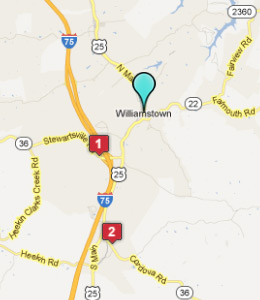 Map of Williamstown, IN hotels
