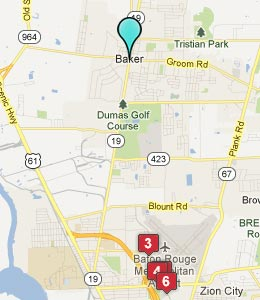 Map of Baker, LA hotels