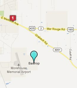 Map of Bastrop, LA hotels