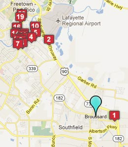 Map of Broussard, LA hotels