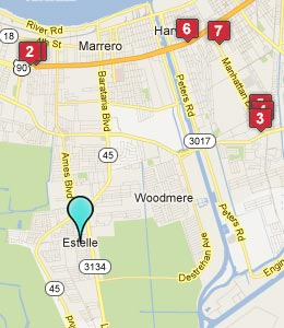 Map of Estelle, LA hotels