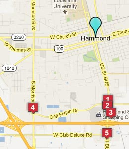 Map of Hammond, LA hotels