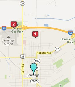 Map of Jennings, LA hotels