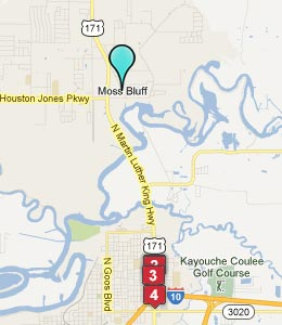Map of Moss Bluff, LA hotels