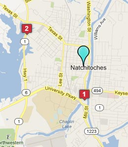 Map of Natchitoches, LA hotels