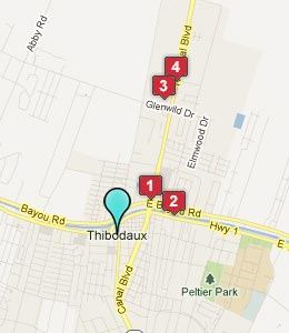 Map of Thibodaux, LA hotels