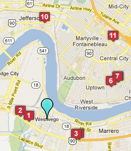 Map of Westwego, LA hotels