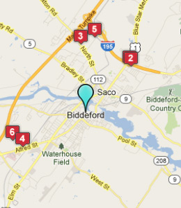Map of Biddeford, IN hotels
