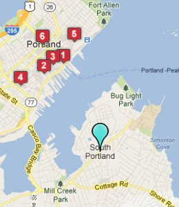 Map of South Portland, IN hotels