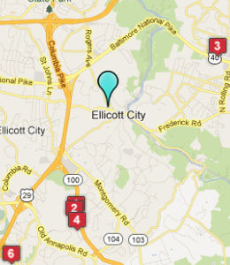 Map of Ellicott City, IN hotels
