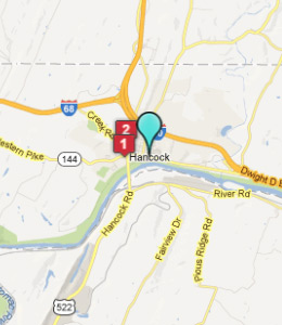 Hancock Md Hotels on Martinsburg Pa Map