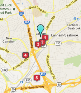 Map of Lanham, IN hotels