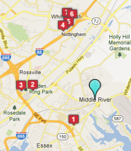 Map of Middle River, IN hotels