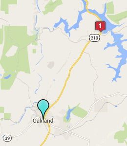 Map of Oakland, IN hotels