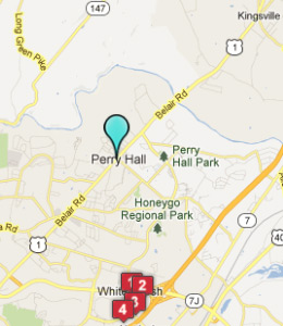 Map of Perry Hall, IN hotels