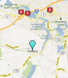 Map of Ashland, IN hotels