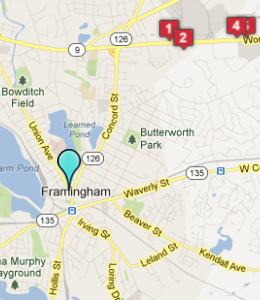 Map of Framingham, IN hotels