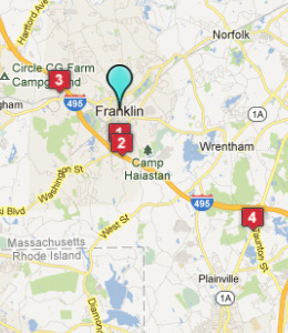 Map of Franklin, IN hotels