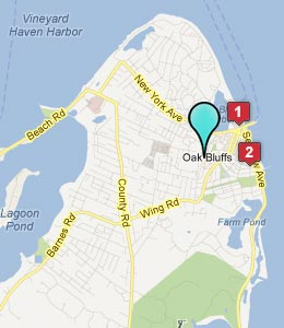 Map of Oak Bluffs, MA hotels