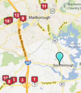 Map of Southborough, IN hotels