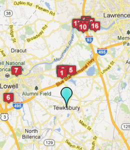 Map of Tewksbury, IN hotels
