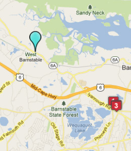 Map of West Barnstable, IN hotels