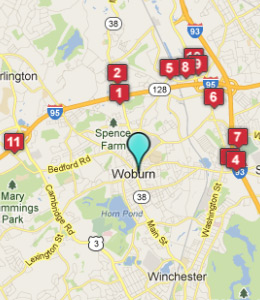 Map of Woburn, IN hotels