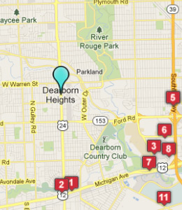 Map of Dearborn Heights, IN hotels