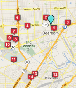 Map of Dearborn, IN hotels
