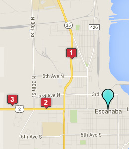 Map of Escanaba, IN hotels