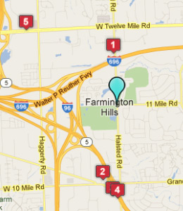 Map of Farmington Hills, IN hotels