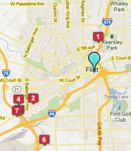 Map of Flint, IN hotels