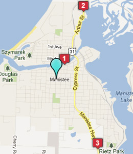 Map of Manistee, IN hotels