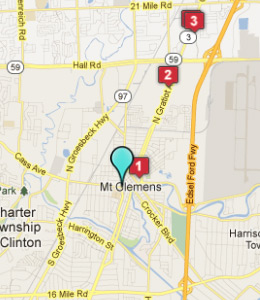 Map of Mount Clemens, IN hotels