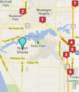 Map of Norton Shores, IN hotels