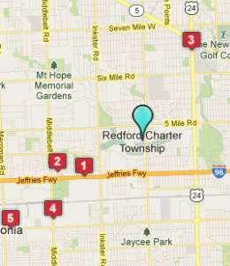 Map of Redford, IN hotels