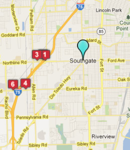 Map of Southgate, IN hotels