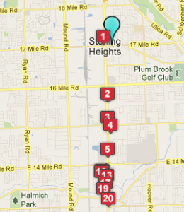 Map of Sterling Heights, IN hotels