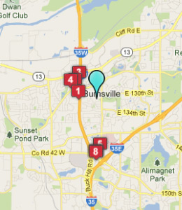 Map of Burnsville, IN hotels