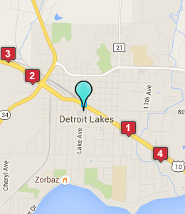 Map of Detroit Lakes, IN hotels